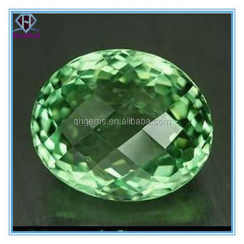 light green oval shaped cubic zirconia gemstone