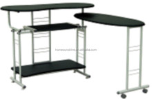 extension metal frame black tempered glass computer Table(HS-DNZ007)