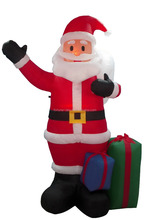 260cm inflatable santa claus who wave his hand and carry a present bag for Christmas
