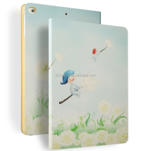Color Printing Folio Stand PU Leather Case for iPad, Smart Flip Cover Case for iPad2 3 4 (Dancing Dandelion)