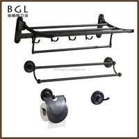 Classic-Style Matte Black Zinc alloy Polished ORB Wall Mounted Bathroom Sanitary Items Bathroom Fittings Set