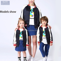 family set clothes European and American fashion black and whiteblank baseball jacket