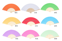 plain color paper hand fan with natural bamboo frame