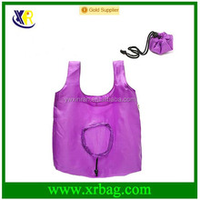 Custom purple round reusable foldable drawstring shopping bags