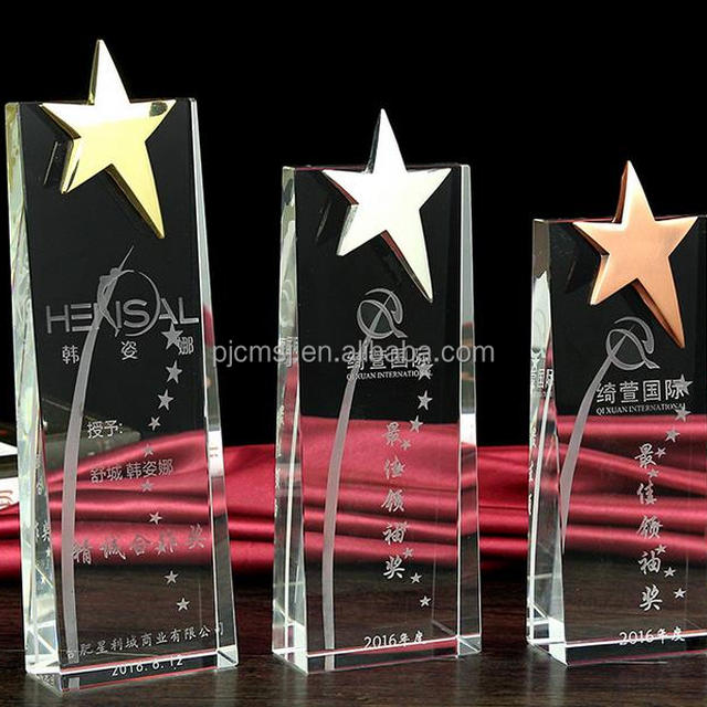 2017 New Design Cheap Star Crystal Glass Trophy