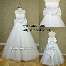 new design strapless pleating bodice A-line cheap wedding dress