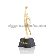 Cheap electroplating metal basketball player statue