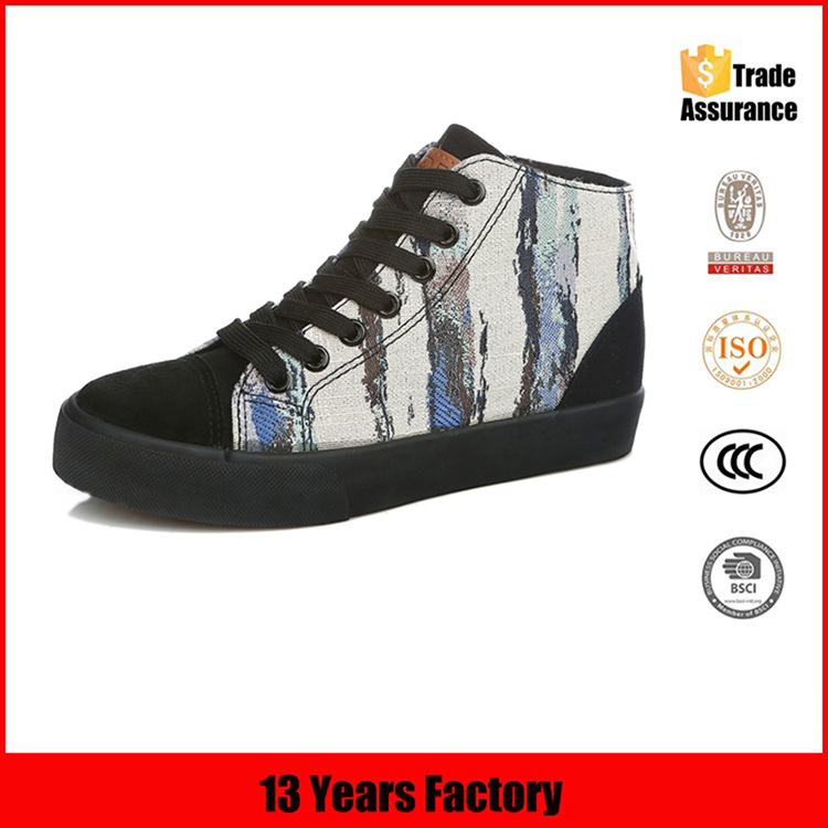 china latest cheap new model bulk wholesale high quality casual style printed ankle canvas shoe