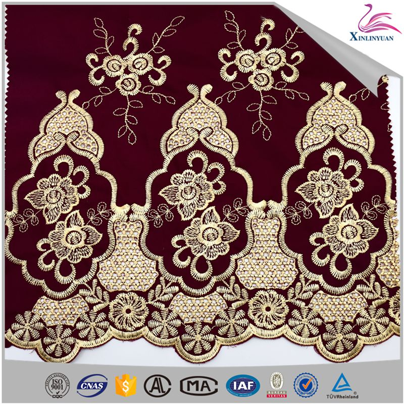 2018 Gold flower embroidered cotton lace fabric