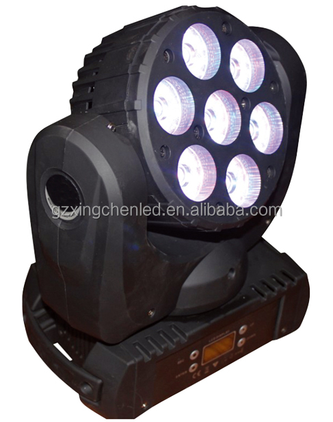 Guangzhou Xingchen Lighting 7x12W RGBW 4in1 LED Moving Head Color Wash Spot Light DMX DJ Club Lighting