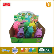 Zhorya Cartoon 6 inch colorful 6 pcs pinch ring dinosaur toy