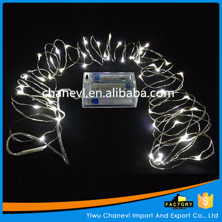 Custom silver and red Christmas Decoration lights battery powered led string light