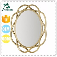 factory good quality oval shape gold shiny vanity mirror for home