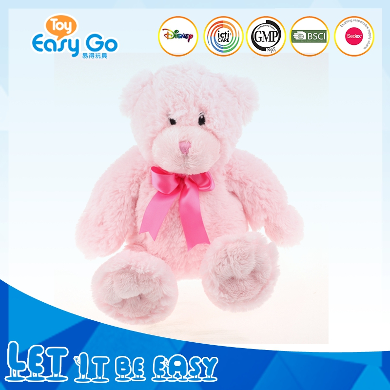 Customized GMP Bsci lovely plush pink bear toys