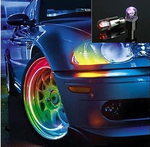 New Arrival 2 Pieces Colorful Bike Car Motorcycle Tyre Tire Valve Caps LED Wheel Lights