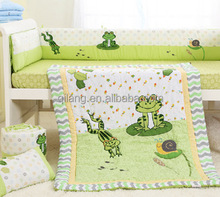 European luxury patchwork quilted kids bedding set with bumper cushion cover flower pillow