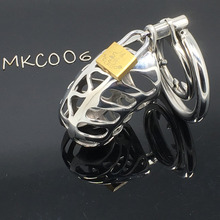 Medical Stainless Steel Small Male Chastity device Adult Cock Cage BDSM Chastity penis plug C006