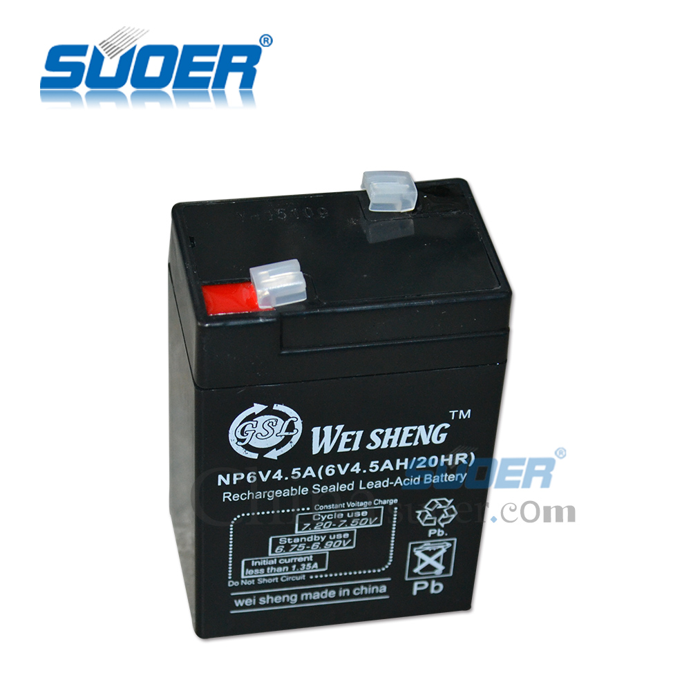 Suoer Factory Price Sealed Lead-Acid Rechargeable Battery 6V 4.5AH Storage Battery