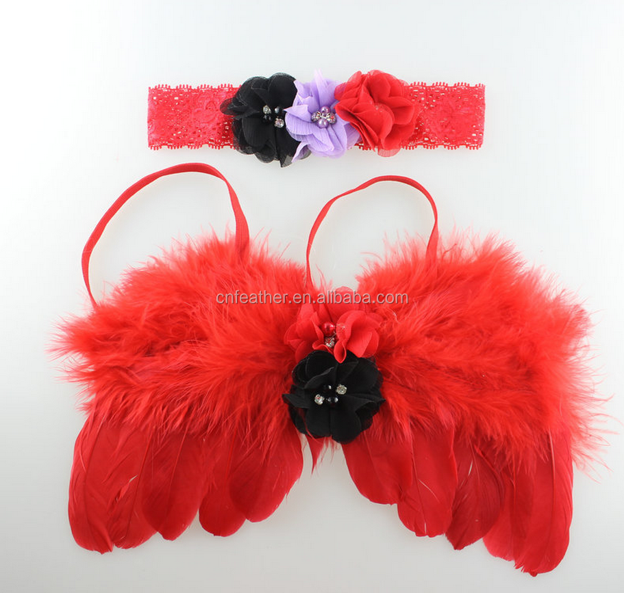 Wholesale pary children angel feather wings in optional colors with hair band for girls'
