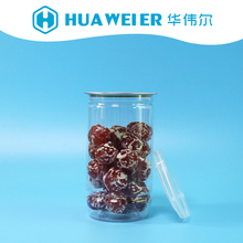 209# 350ml top canned food grade packaging PET plastic clear jars with easy open end PE cap for cookies candy sweet snacks