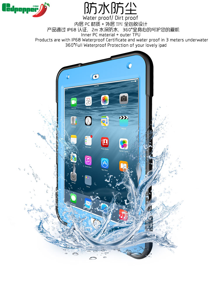 Durable Underwater IP68 Full 360 Degree Protected Waterproof Tablet Case for iPad Mini4 Shockproof