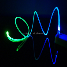 Colorful Micro USB Cable LED Light 1M led light usb cable for iphone