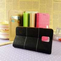 Newest leather case for samsung galaxy note 4 3 2 mobile phone wallet for samsung note 4 wholesale