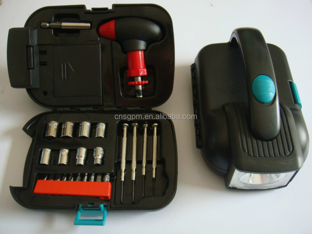 Emergency Vehicle Flashlight Lighting Roadside Socket Driver Tool Kit Travel Set RX204
