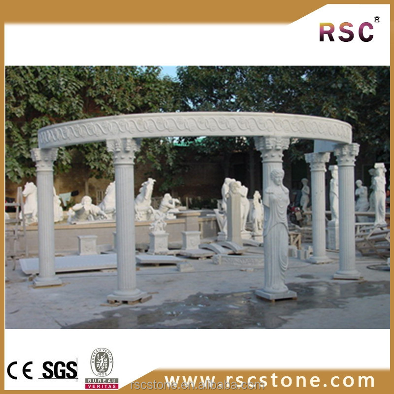 Big round marble gazebo with lady statue carving