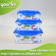 Clear Plastic Food Lunch Containers with Blue Click Lock Lids Storage Boxes
