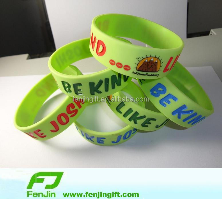 footprint debossed silicone rubber bracelet