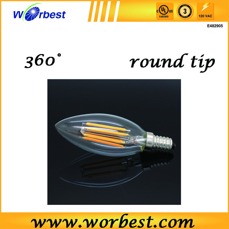 2016 top selling led ce rohs approval 4w candle bulb light