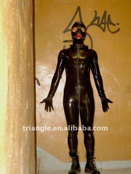 100% natrual latex hand made full body catsuit, attached mask, gloves and feet