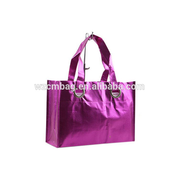Pink Croco Non Woven Bag with Eyelets