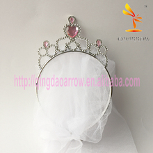 Plastic Heart Pink Crystal Tiara with White Veil