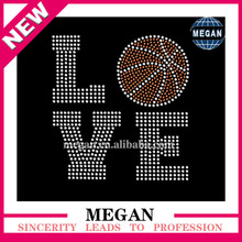 Tshirts trim love basketball rhinestone transfer hot fix design iron ons