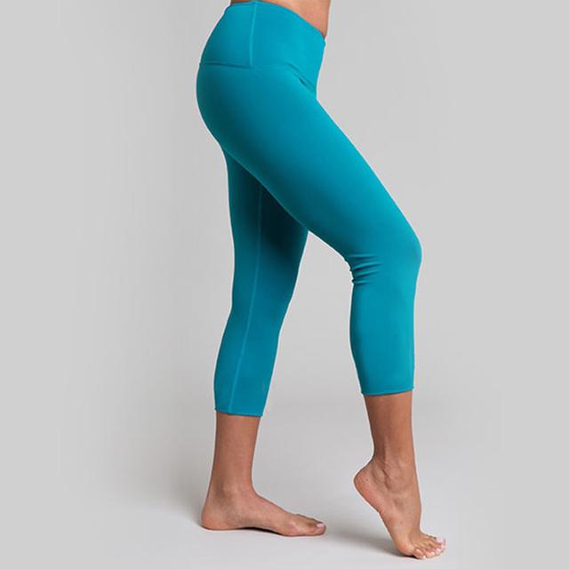 New blue color Tights Woman Leggings three quarter Yoga Pants