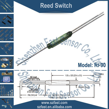 2.54x14.3mm Change Over(normal open/closed) N/C SPDT 3leads 10watt Magnetic actuated Gold Contact Green Glass Reed Switch RI-90