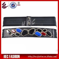 2013 HEC Fashion Black Woman Elastic Stretch Belts Studded With Jewel