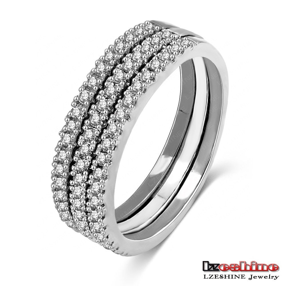 3 in 1 Ring Sets 18k White Gold Plated Metal Alloy Men Engagement Ring Sets Jewelry CRI0195-B