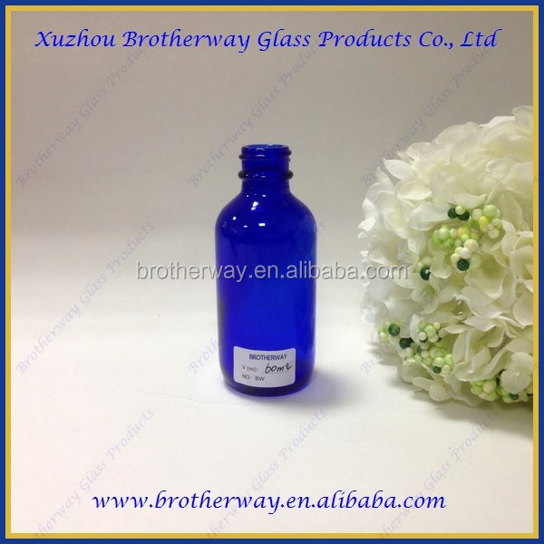 60ml cobalt blue round e-liquid glass bottle with alumite cap& glass dropper