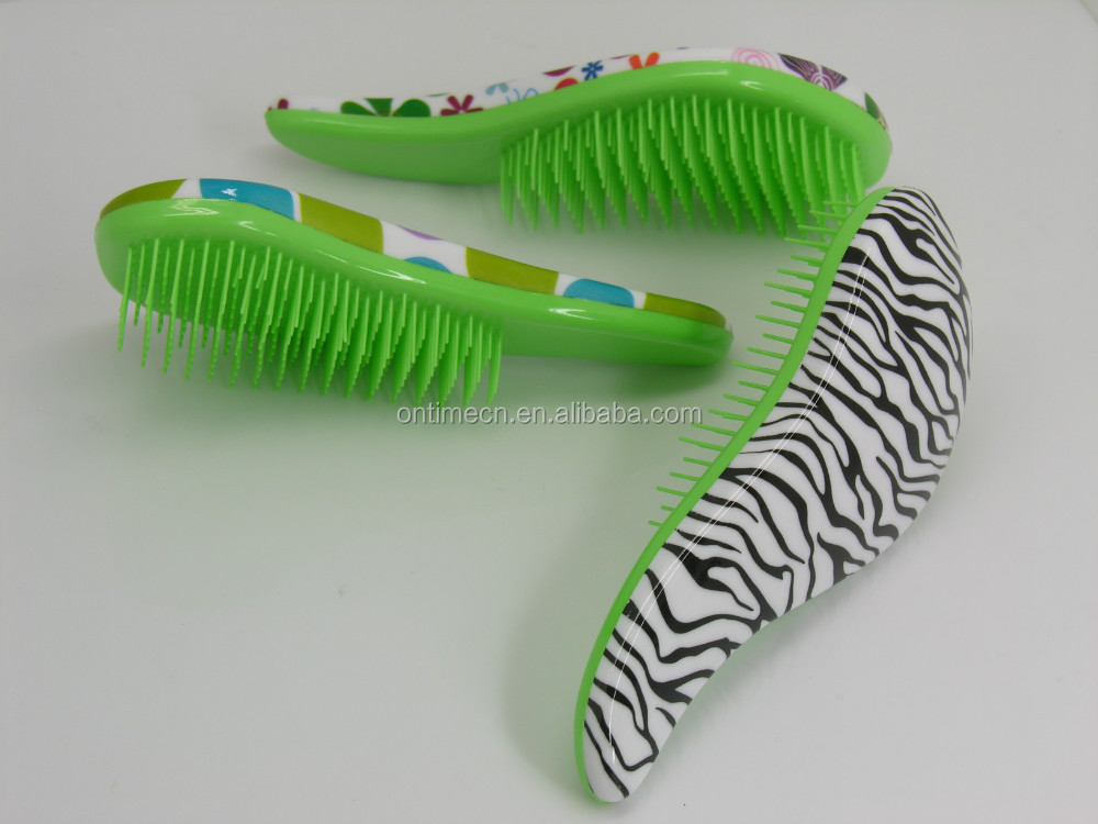Hot detangle brush with rubber coating , rubber coating detangling hair brush,