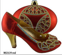 MS3139 Red beautiful design Italian shoes and bag sets african bridal high heels with matching bag size 38-42