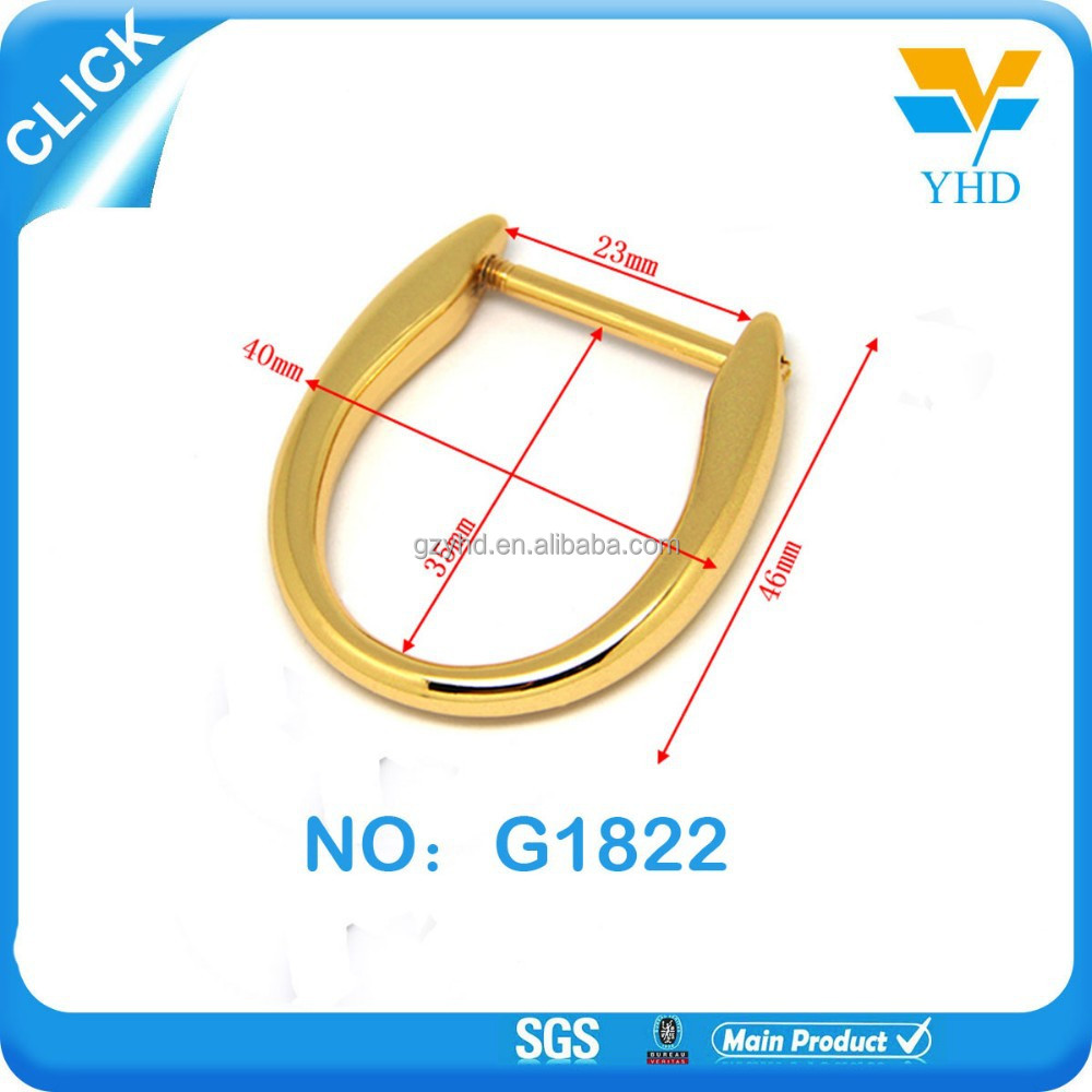 2015 fashion electroplate bag parts gold metal buekle D ring