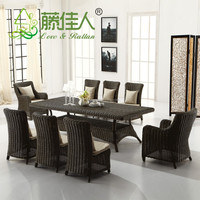 NEW DESIGN Luxury Dining Seating Garden Patio Resin Wicker Rattan Outdoor Furniture