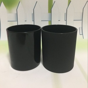 wholesale matte black glass candle jars and different color of candle jar wooden lid