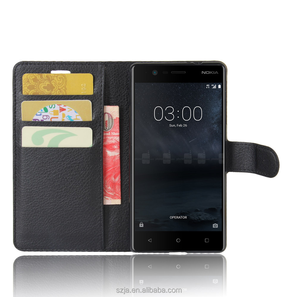 OEM logo / style shockproof flip stand pu leather case for Nokia 3 Nokia 5 and Nokia 6