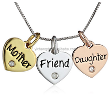 Wholesle New Design Silver Yellow and Rose Gold Flashed Mother Daughter Friend Three Heart Diamond Accent Charm Pendant Necklace