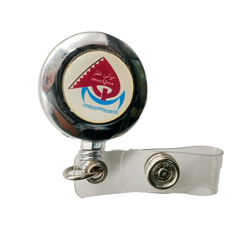 retractable badge reel yoyo id card holder with epoxy dome LOGO