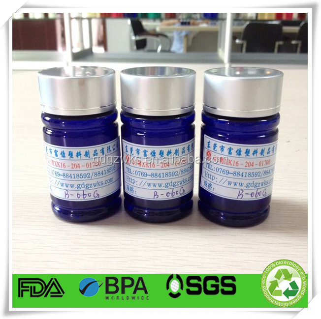 blue plastic grapes exact candy bottle,60cc herbal candy PET round bottle,plastic candy pill packaging container